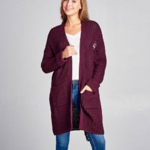 Sweaters - 🆑 ONE DAY SALE:Plum Distressed Long Sweater Cardi